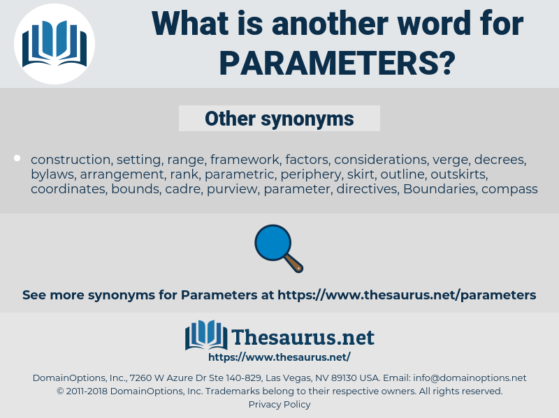 parameters, synonym parameters, another word for parameters, words like parameters, thesaurus parameters