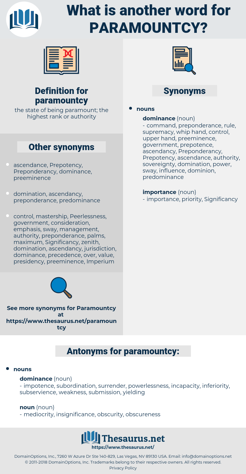 paramountcy, synonym paramountcy, another word for paramountcy, words like paramountcy, thesaurus paramountcy