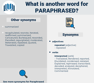 Paraphrased, synonym Paraphrased, another word for Paraphrased, words like Paraphrased, thesaurus Paraphrased