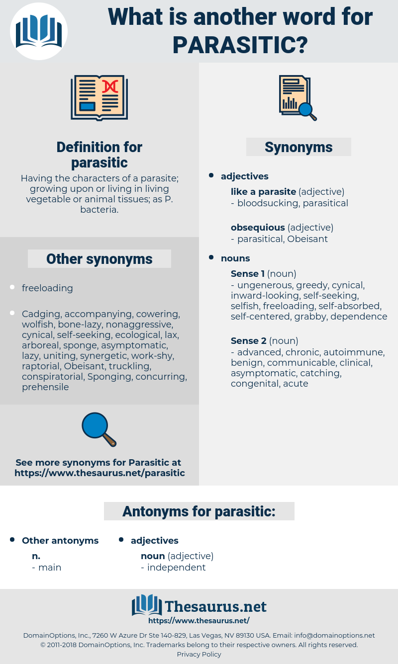 parasitic, synonym parasitic, another word for parasitic, words like parasitic, thesaurus parasitic