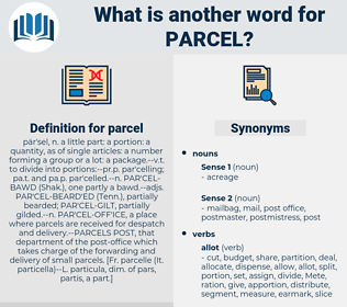 parcel, synonym parcel, another word for parcel, words like parcel, thesaurus parcel
