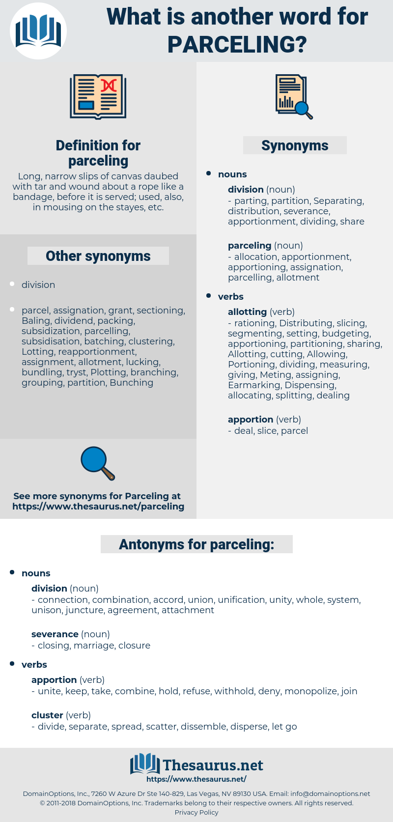 parceling, synonym parceling, another word for parceling, words like parceling, thesaurus parceling