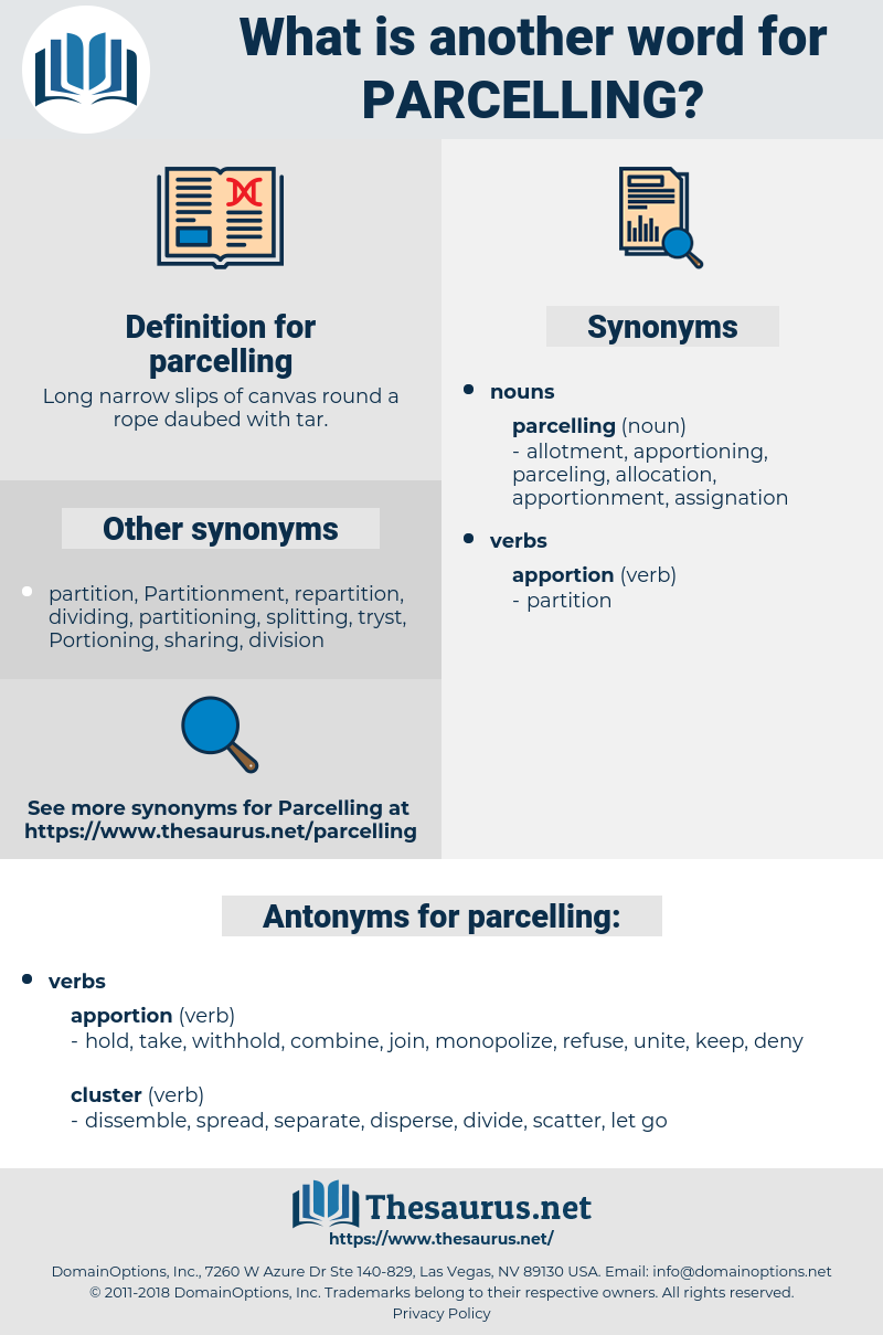 parcelling, synonym parcelling, another word for parcelling, words like parcelling, thesaurus parcelling