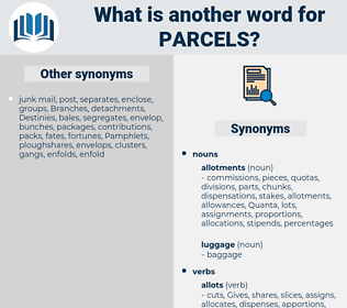 parcels, synonym parcels, another word for parcels, words like parcels, thesaurus parcels