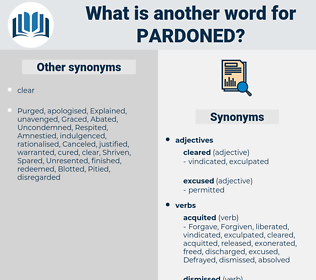 Pardoned, synonym Pardoned, another word for Pardoned, words like Pardoned, thesaurus Pardoned