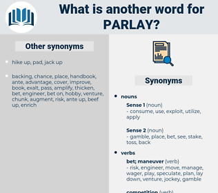 parlay, synonym parlay, another word for parlay, words like parlay, thesaurus parlay