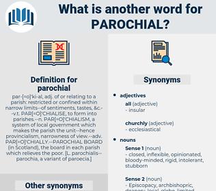 parochial, synonym parochial, another word for parochial, words like parochial, thesaurus parochial