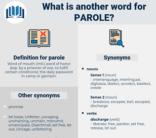 parole, synonym parole, another word for parole, words like parole, thesaurus parole