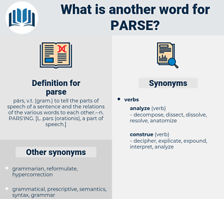parse, synonym parse, another word for parse, words like parse, thesaurus parse