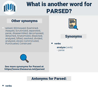 Parsed, synonym Parsed, another word for Parsed, words like Parsed, thesaurus Parsed