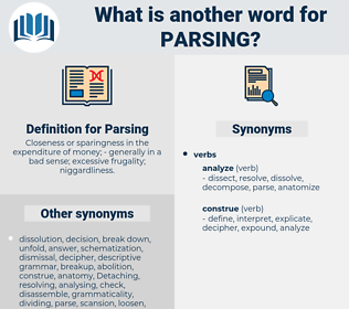 Parsing, synonym Parsing, another word for Parsing, words like Parsing, thesaurus Parsing