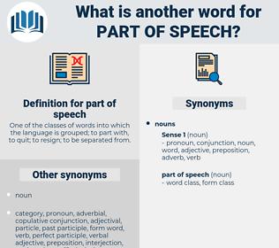 part of speech, synonym part of speech, another word for part of speech, words like part of speech, thesaurus part of speech