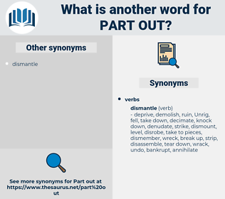 part out, synonym part out, another word for part out, words like part out, thesaurus part out