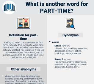 part-time, synonym part-time, another word for part-time, words like part-time, thesaurus part-time