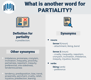 partiality, synonym partiality, another word for partiality, words like partiality, thesaurus partiality