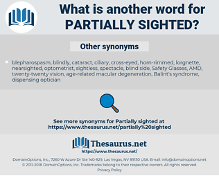 partially sighted, synonym partially sighted, another word for partially sighted, words like partially sighted, thesaurus partially sighted