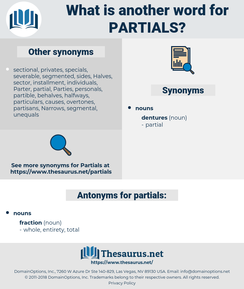 partials, synonym partials, another word for partials, words like partials, thesaurus partials