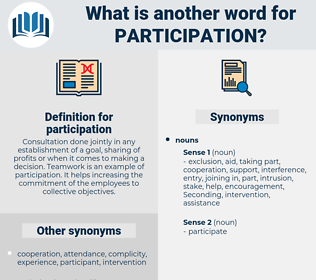 participation, synonym participation, another word for participation, words like participation, thesaurus participation