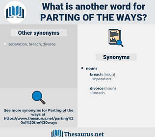 parting of the ways, synonym parting of the ways, another word for parting of the ways, words like parting of the ways, thesaurus parting of the ways