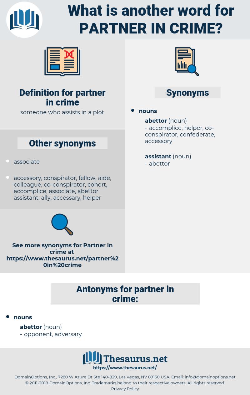 partner in crime, synonym partner in crime, another word for partner in crime, words like partner in crime, thesaurus partner in crime