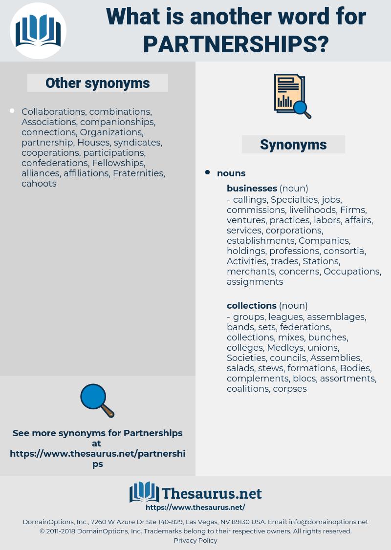 partnerships, synonym partnerships, another word for partnerships, words like partnerships, thesaurus partnerships