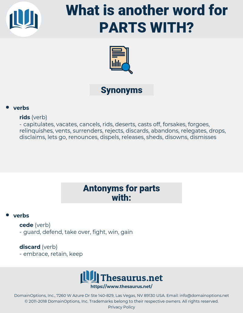 parts with, synonym parts with, another word for parts with, words like parts with, thesaurus parts with