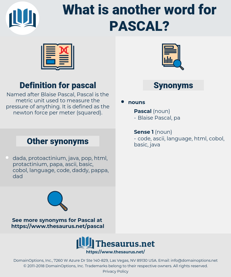 Synonyms for PASCAL - Thesaurus net