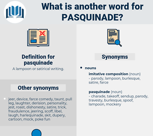pasquinade, synonym pasquinade, another word for pasquinade, words like pasquinade, thesaurus pasquinade