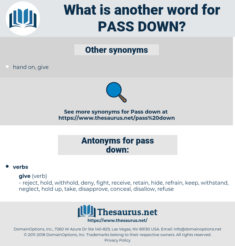 pass down, synonym pass down, another word for pass down, words like pass down, thesaurus pass down