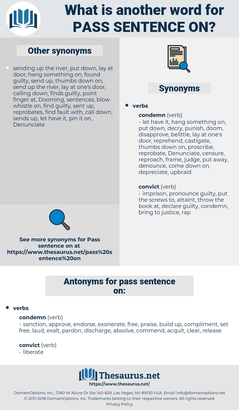 pass sentence on, synonym pass sentence on, another word for pass sentence on, words like pass sentence on, thesaurus pass sentence on