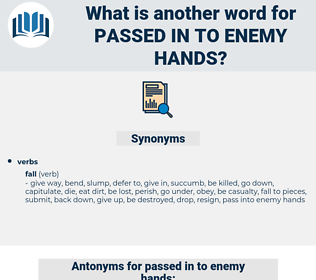 passed in to enemy hands, synonym passed in to enemy hands, another word for passed in to enemy hands, words like passed in to enemy hands, thesaurus passed in to enemy hands