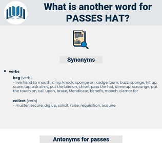 passes hat, synonym passes hat, another word for passes hat, words like passes hat, thesaurus passes hat