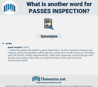 passes inspection, synonym passes inspection, another word for passes inspection, words like passes inspection, thesaurus passes inspection