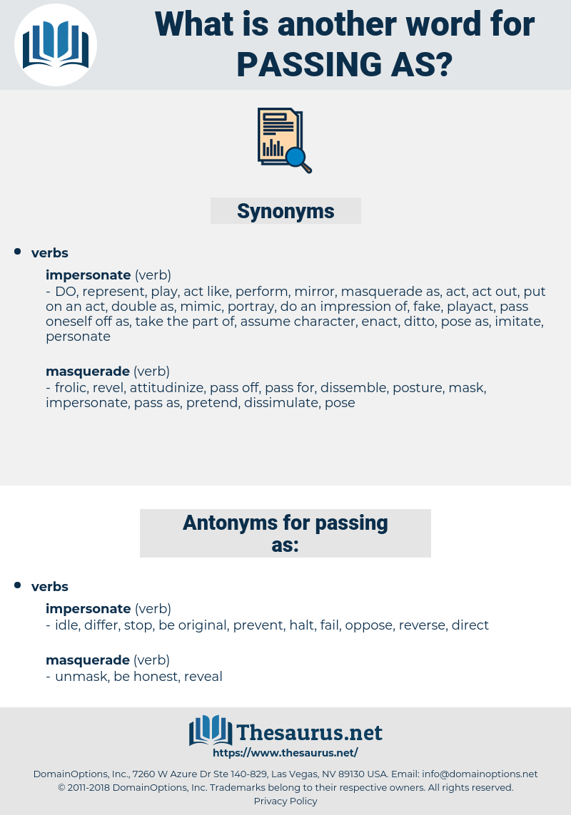 passing as, synonym passing as, another word for passing as, words like passing as, thesaurus passing as