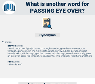 passing eye over, synonym passing eye over, another word for passing eye over, words like passing eye over, thesaurus passing eye over