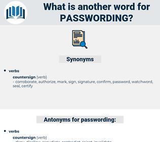 passwording, synonym passwording, another word for passwording, words like passwording, thesaurus passwording