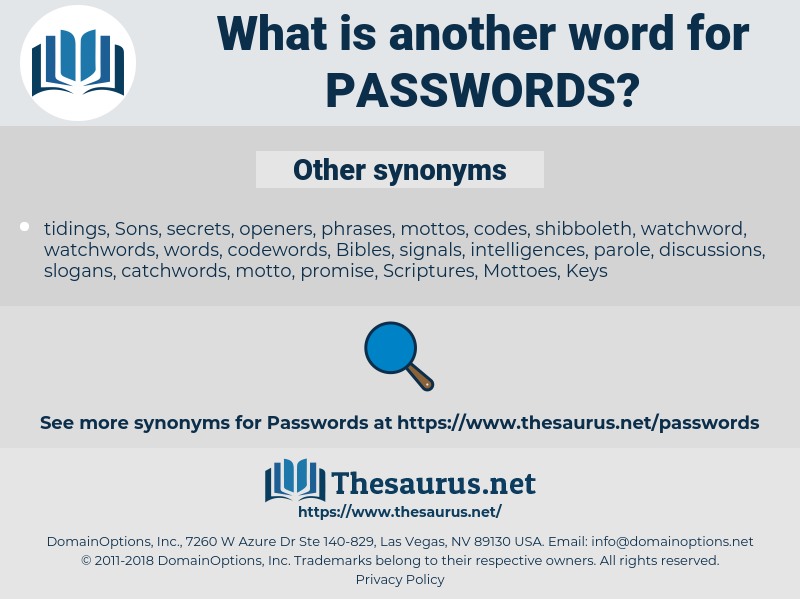 passwords, synonym passwords, another word for passwords, words like passwords, thesaurus passwords