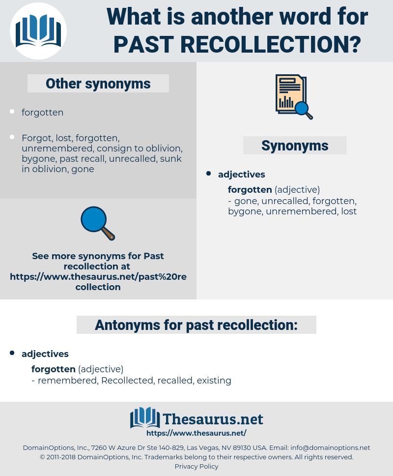 past recollection, synonym past recollection, another word for past recollection, words like past recollection, thesaurus past recollection
