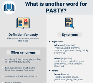 pasty, synonym pasty, another word for pasty, words like pasty, thesaurus pasty