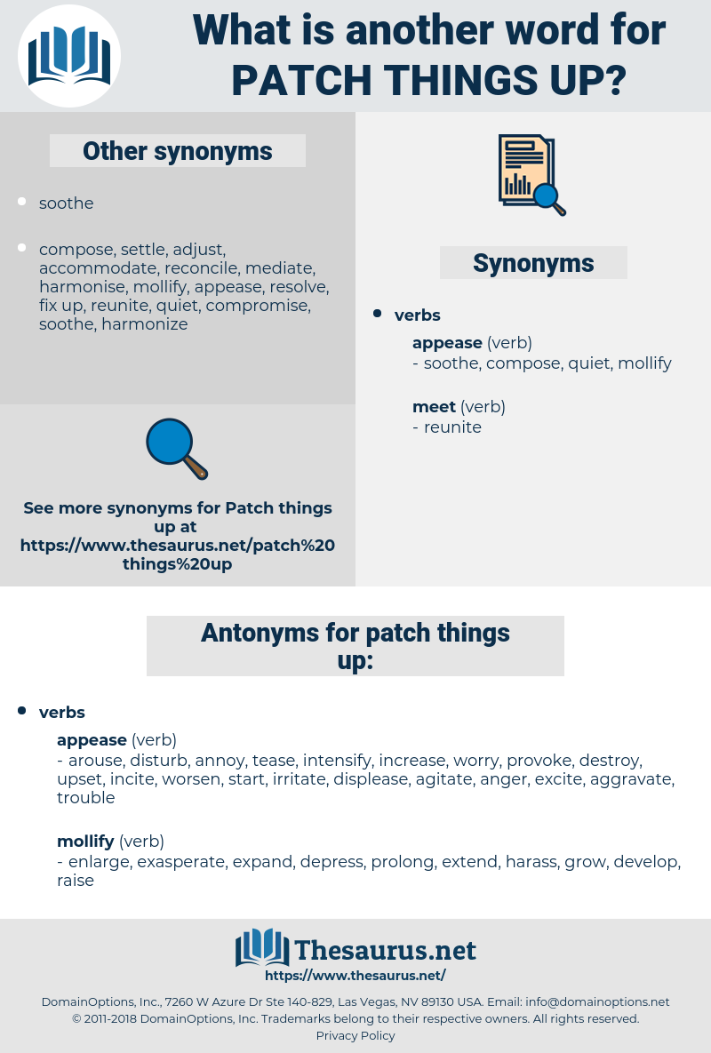 patch things up, synonym patch things up, another word for patch things up, words like patch things up, thesaurus patch things up