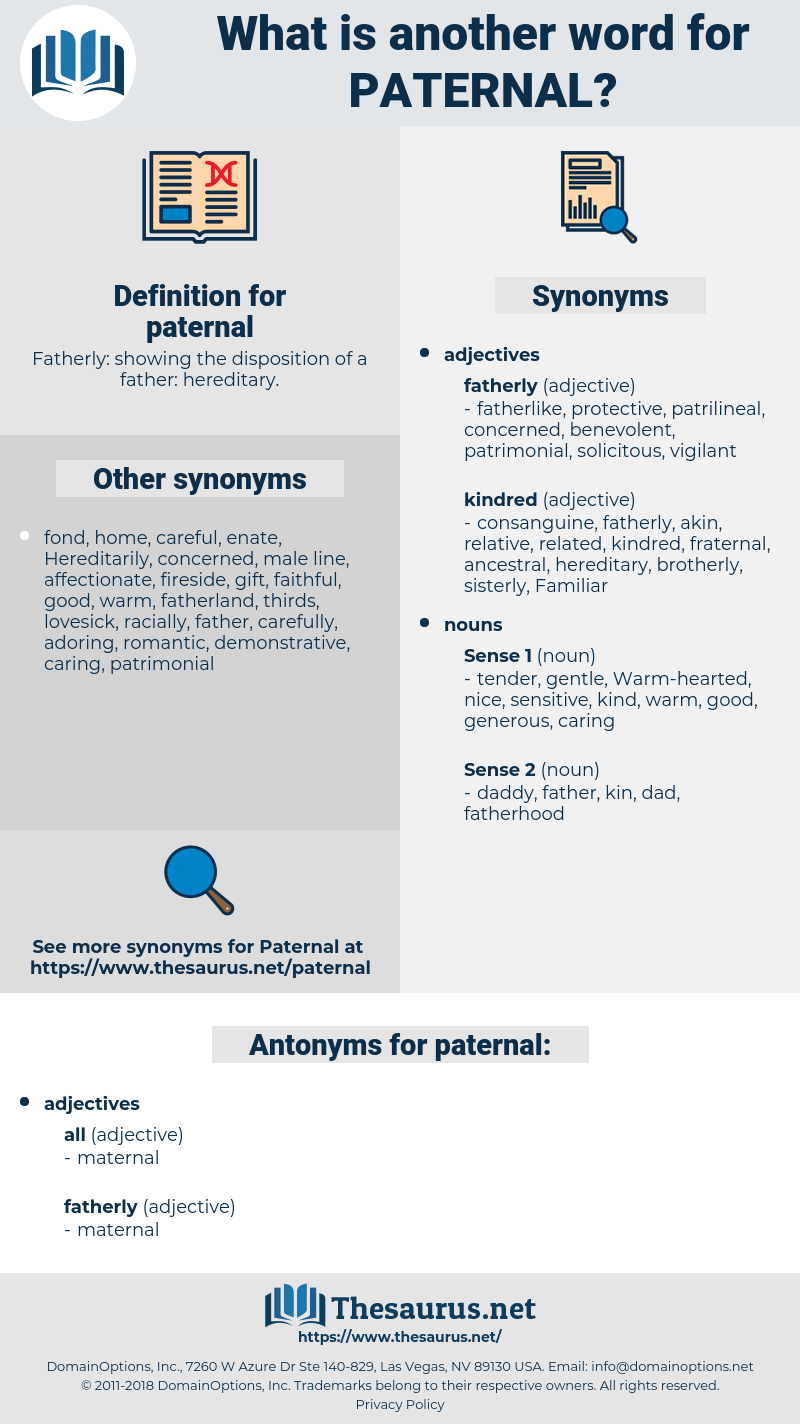 paternal, synonym paternal, another word for paternal, words like paternal, thesaurus paternal