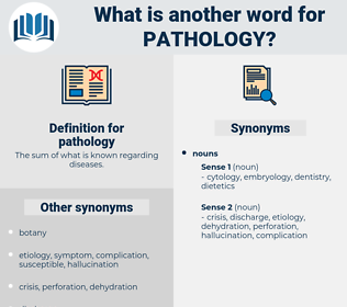pathology, synonym pathology, another word for pathology, words like pathology, thesaurus pathology