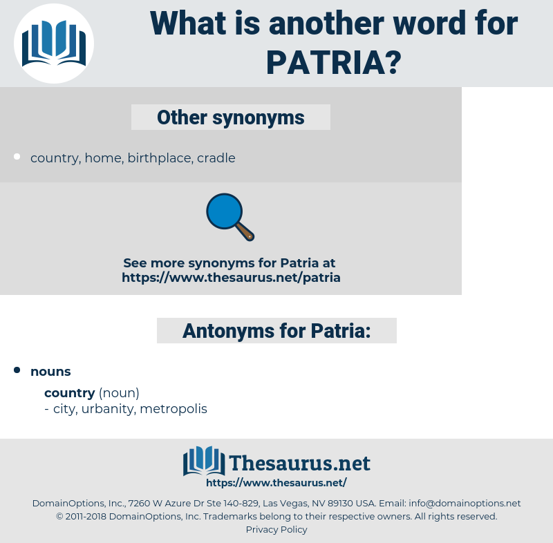 Patria, synonym Patria, another word for Patria, words like Patria, thesaurus Patria