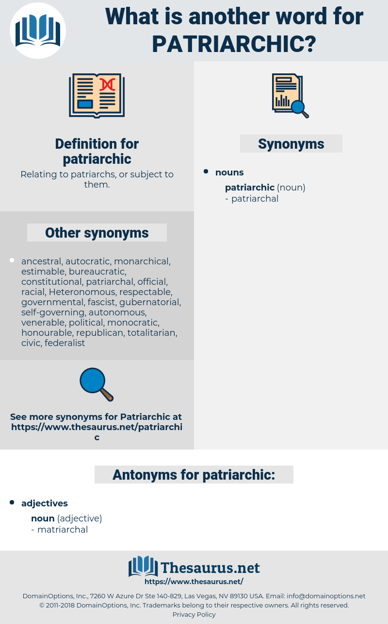 patriarchic, synonym patriarchic, another word for patriarchic, words like patriarchic, thesaurus patriarchic