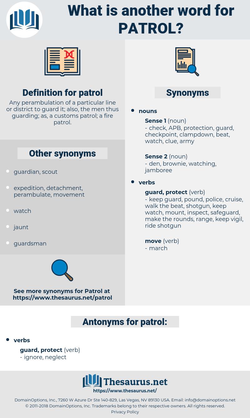 patrol, synonym patrol, another word for patrol, words like patrol, thesaurus patrol