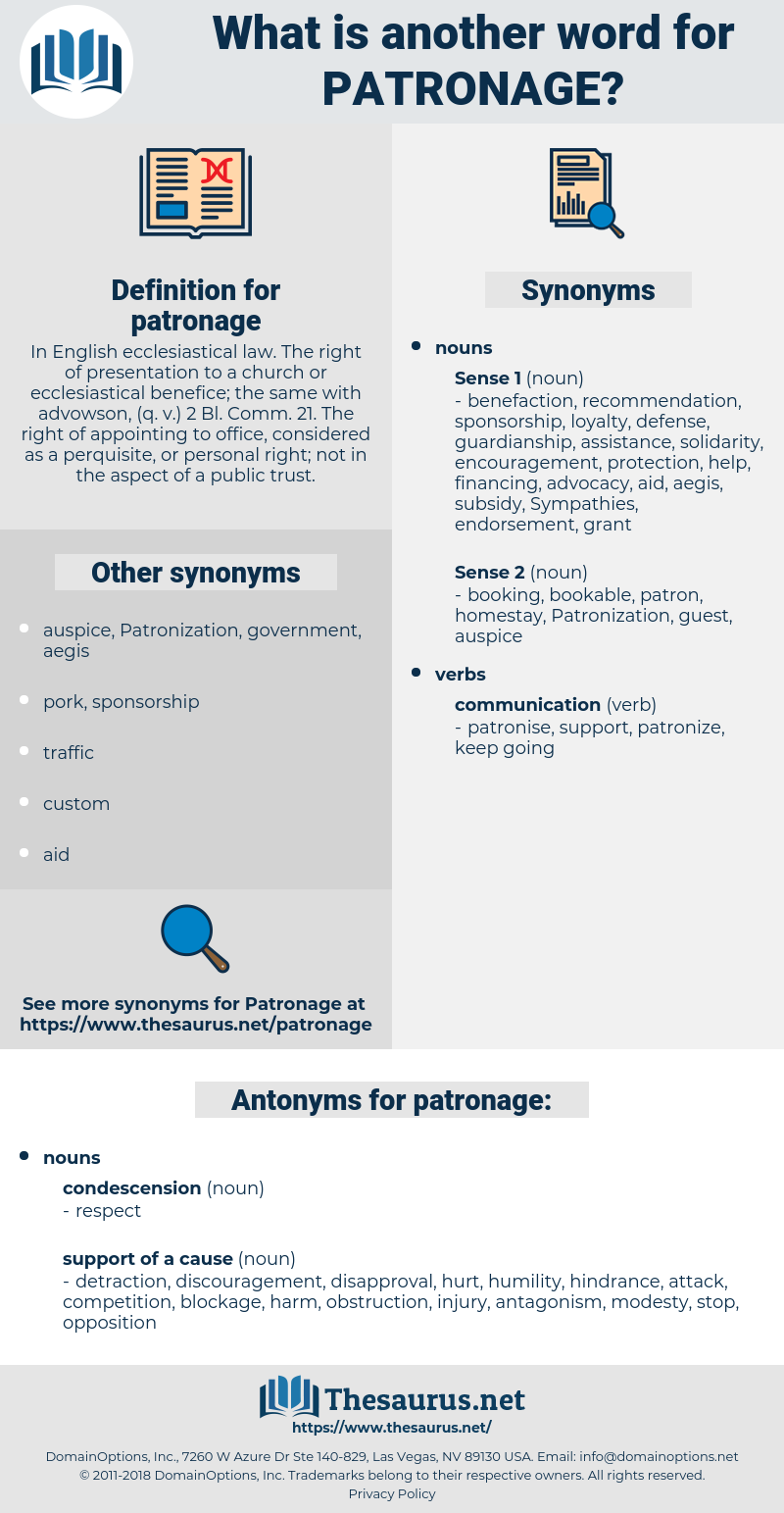 patronage, synonym patronage, another word for patronage, words like patronage, thesaurus patronage