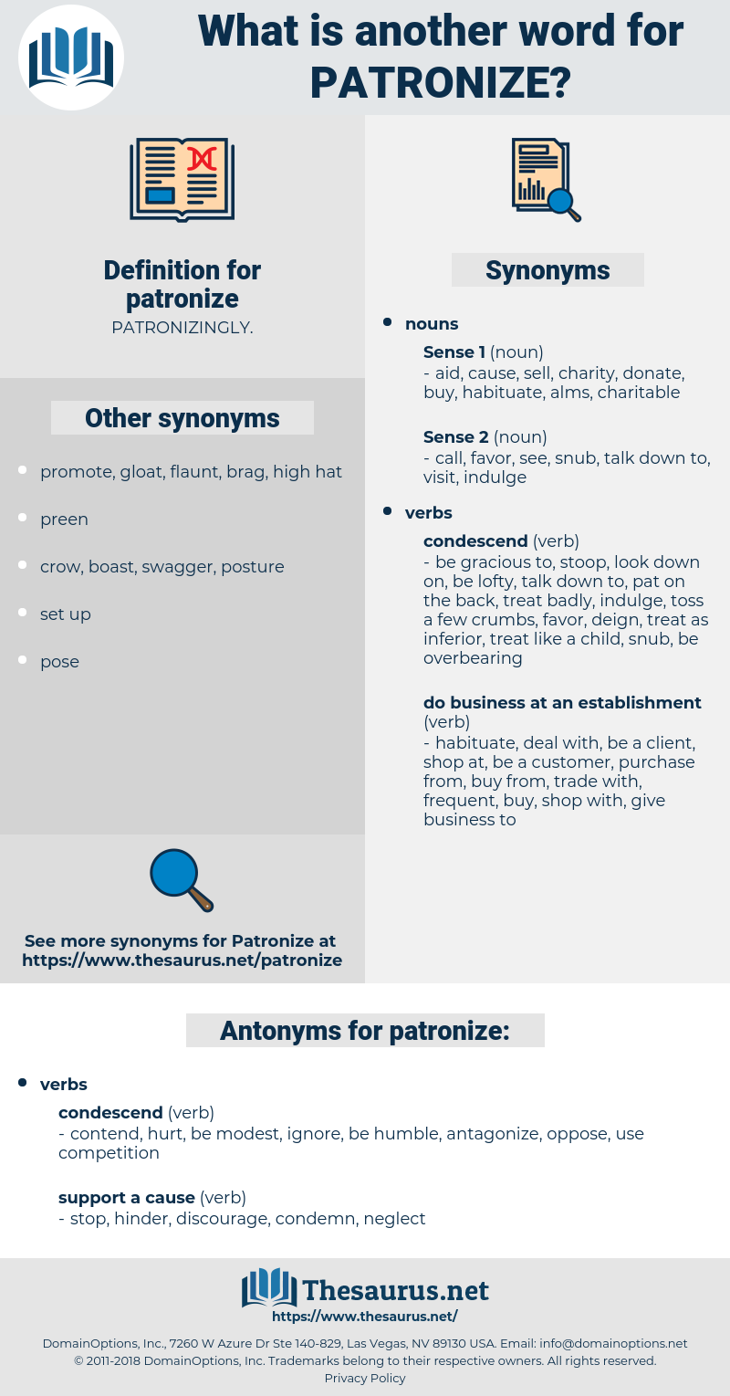patronize, synonym patronize, another word for patronize, words like patronize, thesaurus patronize