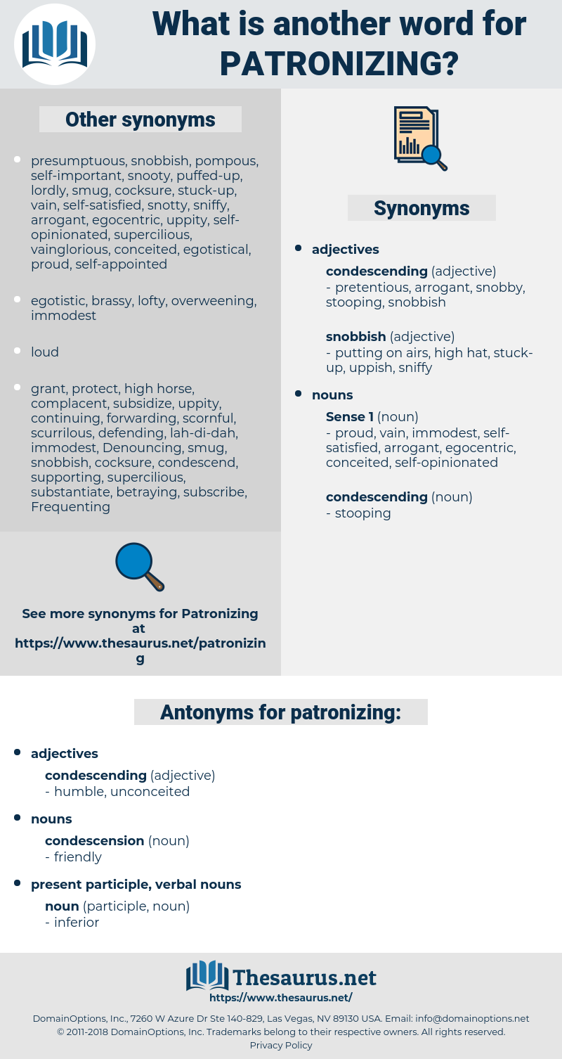 patronizing, synonym patronizing, another word for patronizing, words like patronizing, thesaurus patronizing