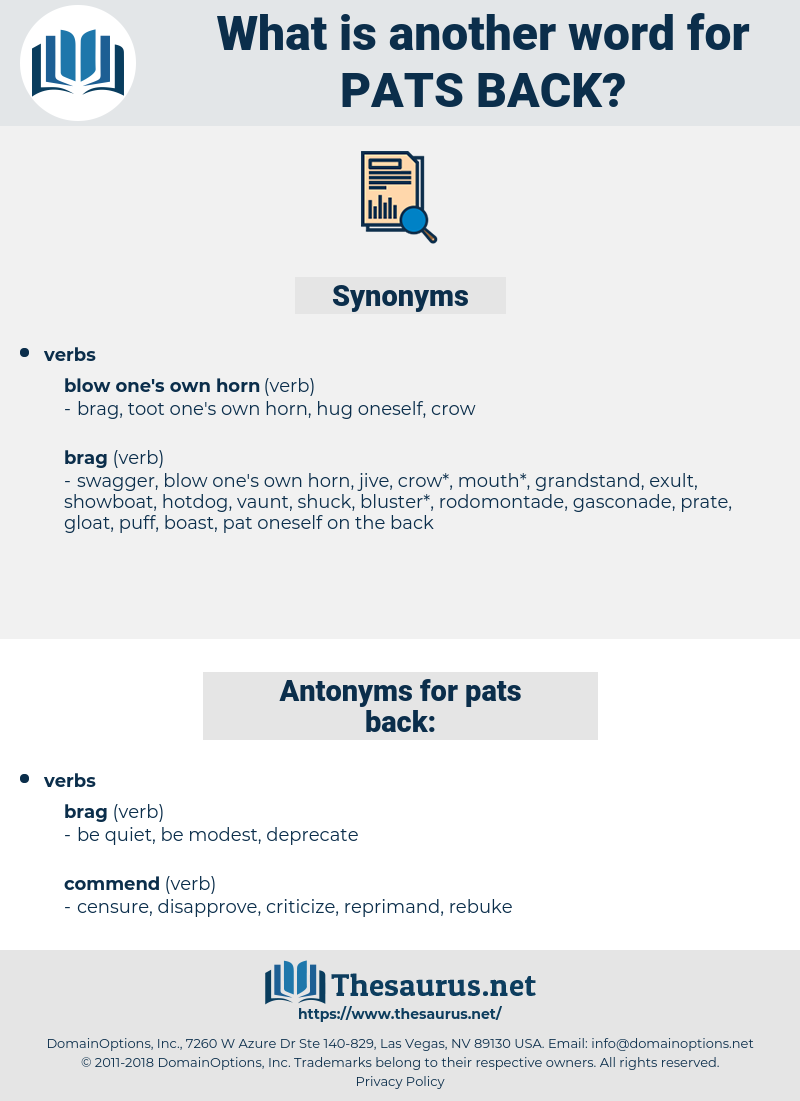 pats back, synonym pats back, another word for pats back, words like pats back, thesaurus pats back