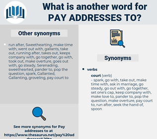 pay addresses to, synonym pay addresses to, another word for pay addresses to, words like pay addresses to, thesaurus pay addresses to